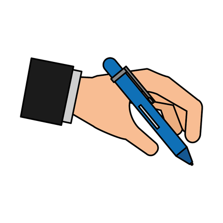 hand with office pen writing vector illustration