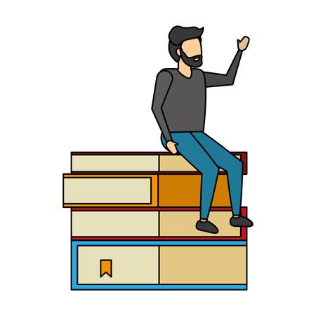 man sitting on books stack vector illustration Иллюстрация