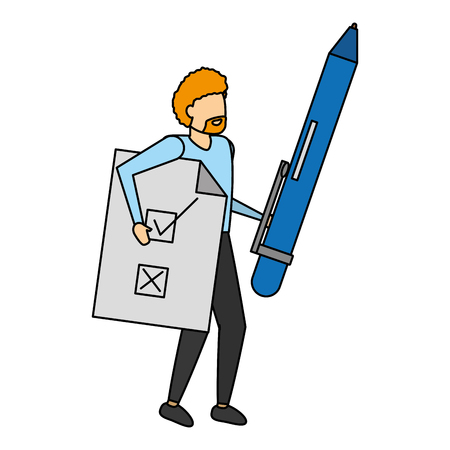 man holding pen and document vector illustration