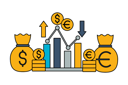 report money bag euro dollar exchange stock market vector illustration Illustration