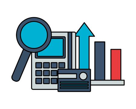 bank card calculator chart analysis stock market vector illustration Иллюстрация