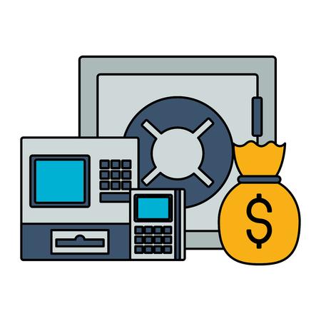 safe box cash register calculator money bag stock market vector illustration