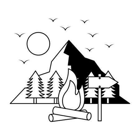 campfire mountains trees camping wanderlust vector illustration