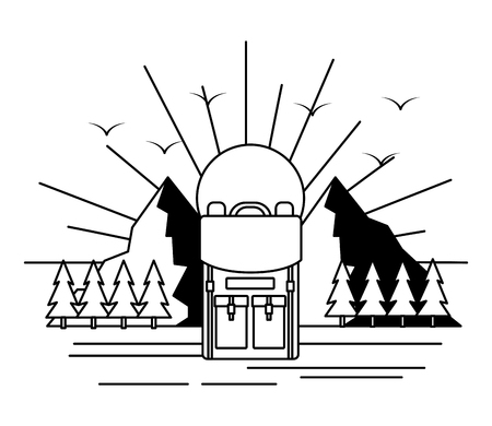 mountaind backpack sun camping wanderlust vector illustration