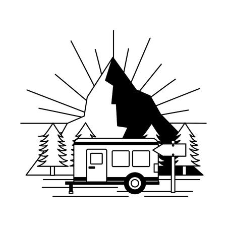 camper trailer landscape camping wanderlust vector illustration Illustration