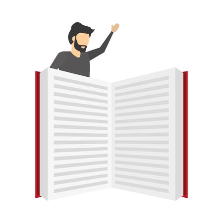 businessman with open book literature vector illustration Illustration