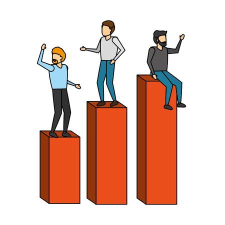 businessmen over diagram bars report vector illustration Illustration