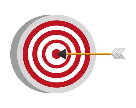 Zielpfeilstrategie auf weißer Hintergrundvektorillustration