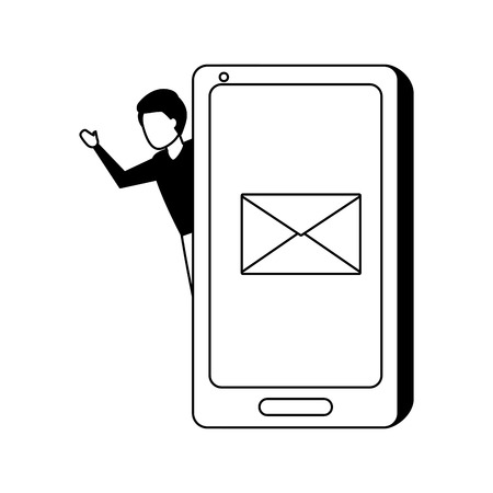 businessman with smartphone email message vector illustration