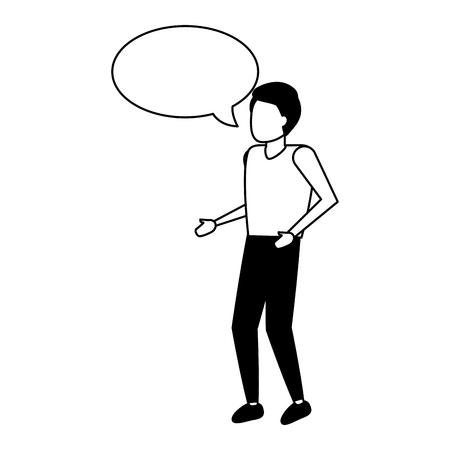 man standing with speech bubble vector illustration Illustration