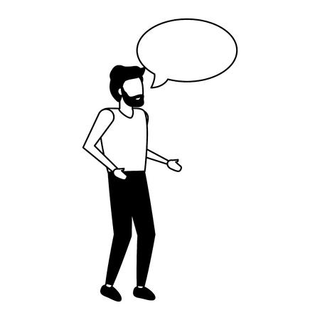 man standing with speech bubble vector illustration Stock Illustratie