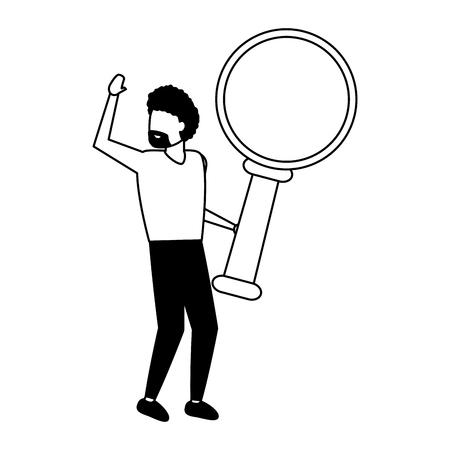 businessman holding magnifying glass white background vector illustration
