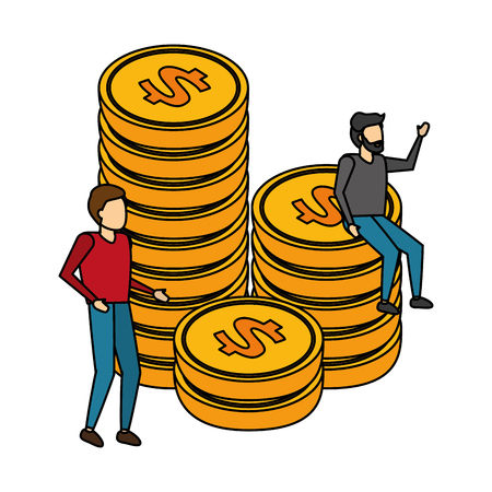 business men and stacked coin money vector illustration