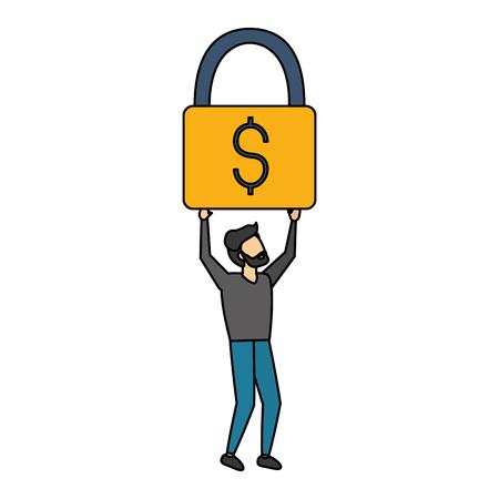 businessman holding padlock money security vector illustration