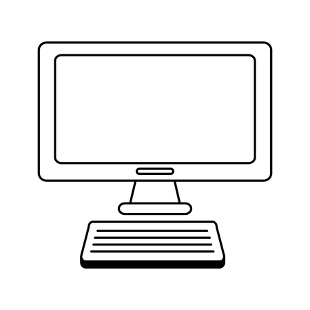 computer monitor keyboard on white background vector illustration Illustration