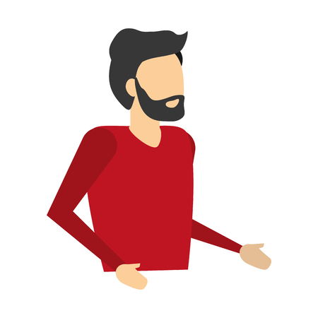 man portrait character on white background vector illustration 向量圖像