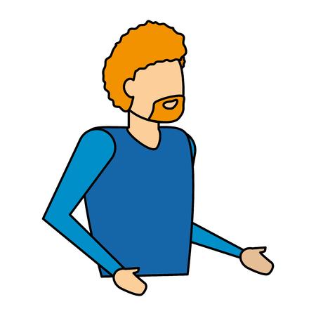 man portrait character on white background vector illustration Illustration