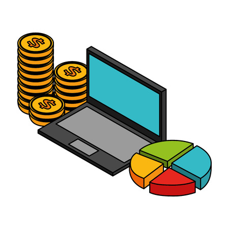 business laptop diagram coins stacked vector illustration