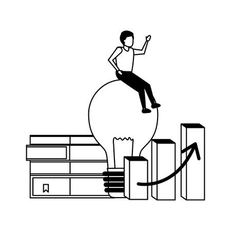 businessman sitting on bulb creativity books chart vector illustration Illustration
