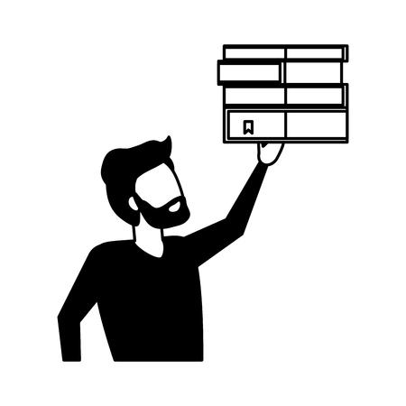 businessman holding books pile literature vector illustration