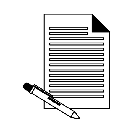 paper document and pen supplies vector illustration