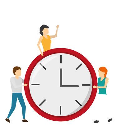 man and women with clock time vector illustration Ilustração