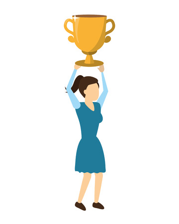 woman business trophy success prize vector illustration 向量圖像