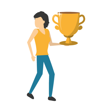 business woman holding gold trophy vector illustration