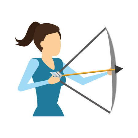 business woman holding bow and arrow vector illustration Banque d'images - 125288471