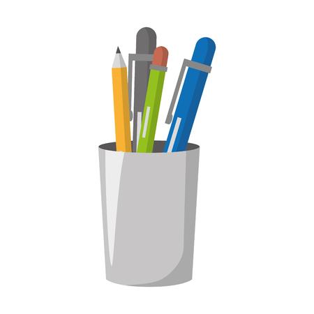 étui à crayons fournitures stylo papeterie vector illustration