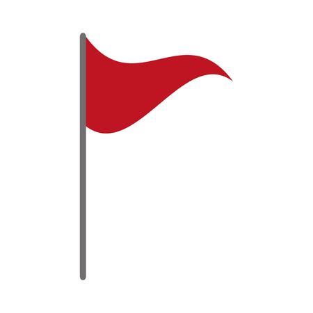 흰색 배경 벡터 일러스트 레이 션에 붉은 깃발 마커