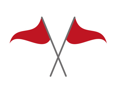 two red flags on white background vector illustration Stock Illustratie