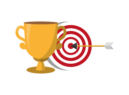 trophy and target arrow strategy vector illustration
