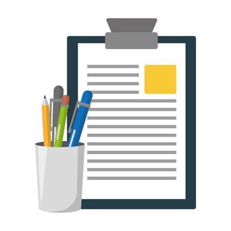 Rapport presse-papiers étui à crayons rempli d'illustration vectorielle Vecteurs