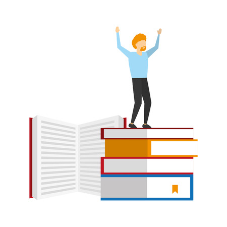 winning man standing on stack books vector illustration