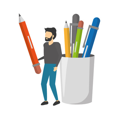 man with pencil and filled case supplies vector illustration