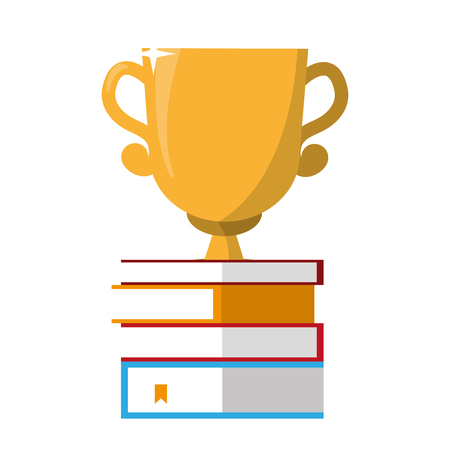 stacked books and trophy award vector illustration