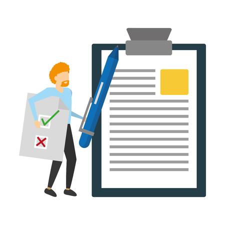 homme d'affaires tenant une illustration vectorielle de rapport papier et stylo