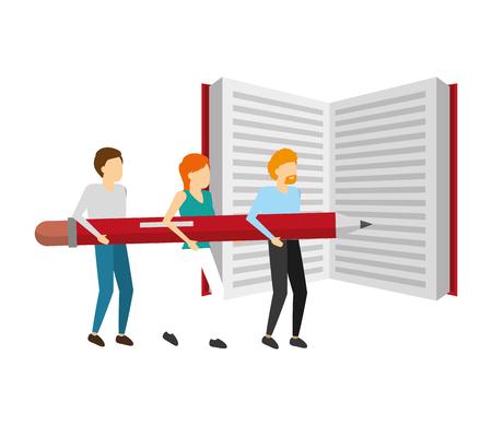 gens affaires, tenue, crayon, à, livre, vecteur, illustration Vecteurs