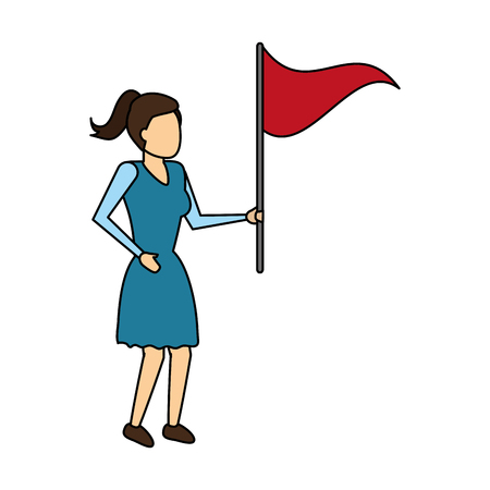 business woman with red flag vector illustration Illustration