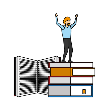 winning man standing on stack books vector illustration Vector Illustration