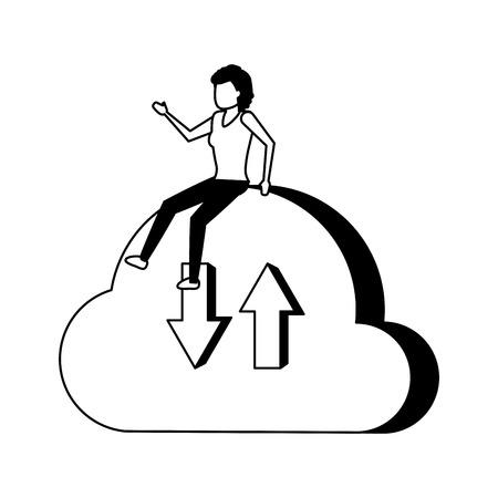business woman sitting cloud computing vector illustration Illustration