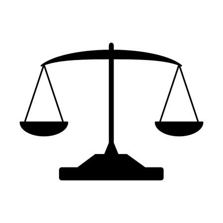 bilancia legge bilancia su sfondo bianco illustrazione vettoriale Vettoriali