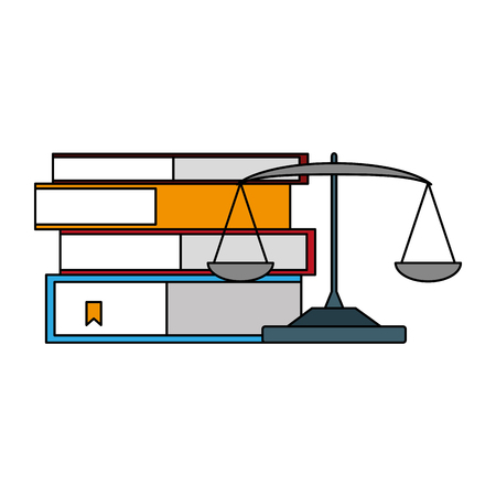 books stacked and balance knowledge vector illustration