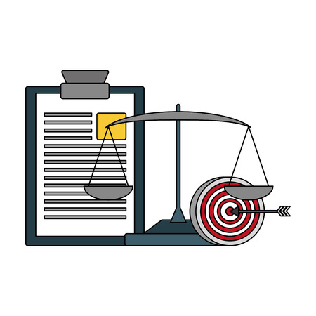 clipboard report target and balance vector illustration Archivio Fotografico - 125272995