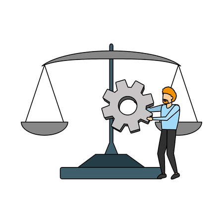 business man holding gear and balance vector illustration