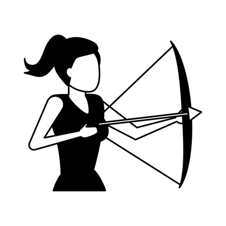business woman holding bow and arrow vector illustration