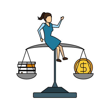 business woman sitting on balance coin and books vector illustration