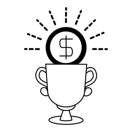 coin trophy prize award linear vector illustration