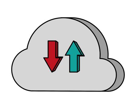 cloud computing data upload and download vector illustration